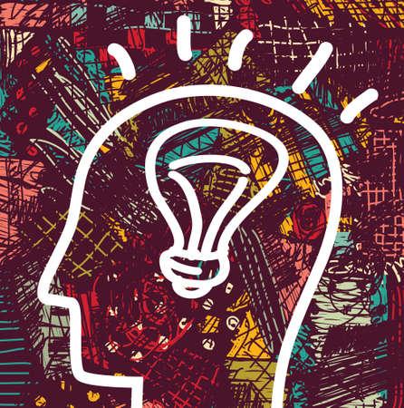 Brain creative head business idea art icon and background. Color vector illustration. EPS8 Illustration