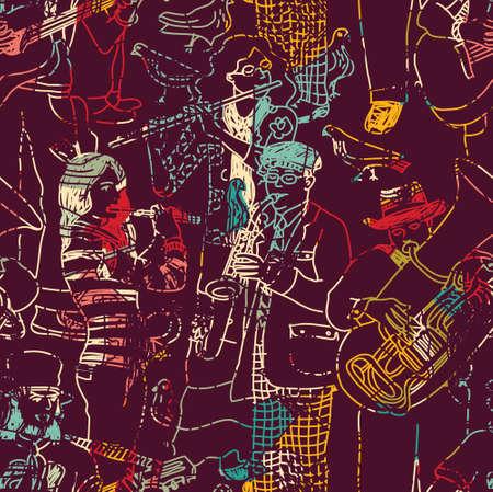 trompeta: banda de jazz de la música de color patrón sin costuras. ilustración vectorial de color. EPS8