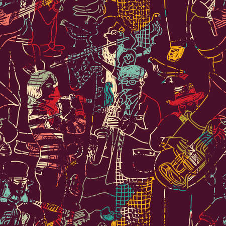 trumpet player: Color music jazz band seamless pattern. Color vector illustration. EPS8 Illustration