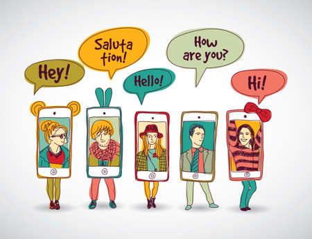 shadow people: Mobile phones standing group happy communication color people and shadow. Color vector illustration. EPS10