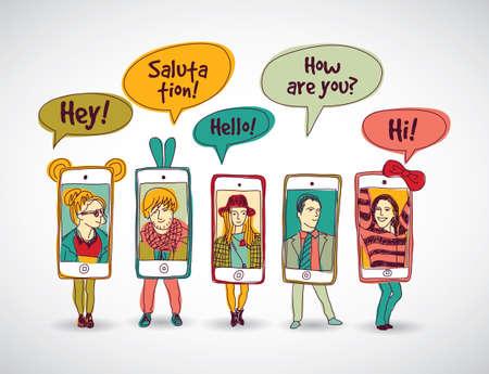 comunicação: Os telefones móveis de pé feliz grupo de pessoas a comunicação de cor e sombra. Cor ilustração vetorial. EPS10