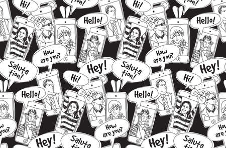 black people: Mobile phones communication people black and white seamless pattern. Color vector illustration. EPS8