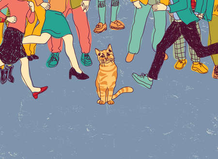 crowd tail: Poor homeless cat on street crowd people. Color vector illustration. EPS8 Illustration