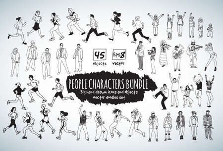 active adult community: Big bundle people characters doodles black and white icons. Vector illustration. EPS10 Illustration