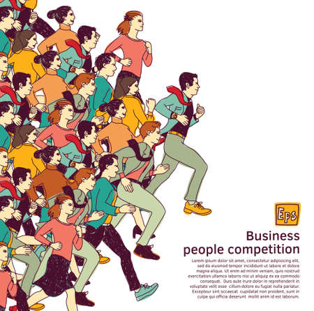 Business people big group competition color. Color vector illustration. EPS8