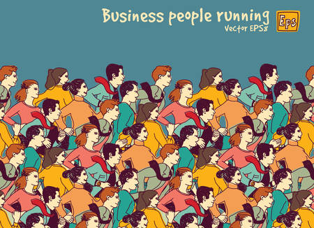 business competition: Business people big group competition color. Color vector illustration. EPS8