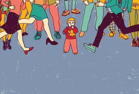 alone in crowd: Little baby lost alone in crowd people danger color. Color vector illustration. EPS8