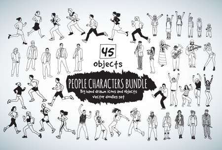 hand drawn cartoon: Big bundle people characters doodles black and white icons. Vector illustration. EPS10 Illustration