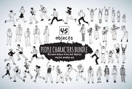 big girls: Big bundle people characters doodles black and white icons. Vector illustration. EPS10 Illustration