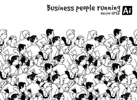 black people: Crowd Business people running marathon black and white. Monochrome vector illustration. EPS8