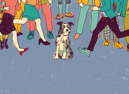 crowd tail: Homeless poor dog on street crowd people. Color vector illustration. EPS8