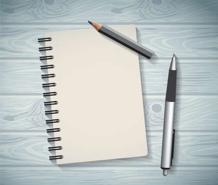 note book: Notepad objects wood background flat design pen and pencil write. Color vector illustration. EPS10