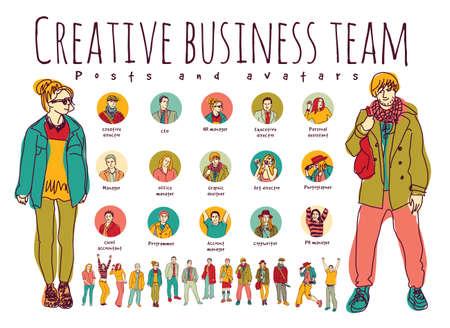Creativa los puestos del equipo de negocios y los iconos avatares. Cada objeto se separa.