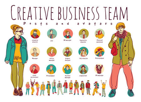 happy woman: Creative business team posts and avatars icons. Every object is separated.