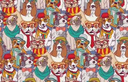 Cute dog fashion hipster seamless pattern.