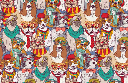 Cute dog fashion hipster seamless pattern.