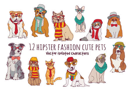 Cute cats and dogs fashion hipster isolated pets.