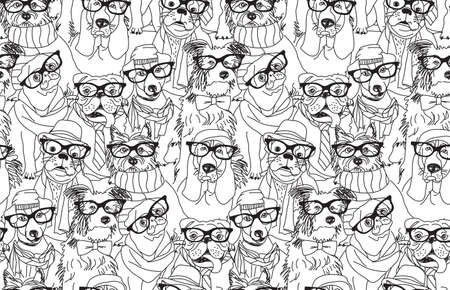 pug puppy: Cute dog fashion hipster black seamless pattern.