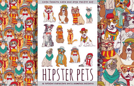 Hipster cute pets cats and dogs set.
