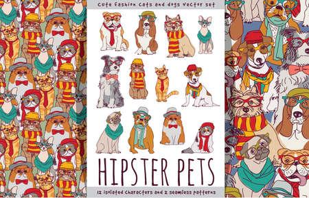 Hipster tiernas mascotas perros y gatos establecidas.