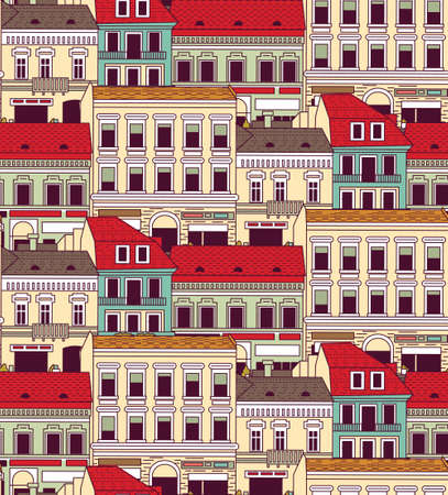 down town: City buildings down town color seamless pattern.