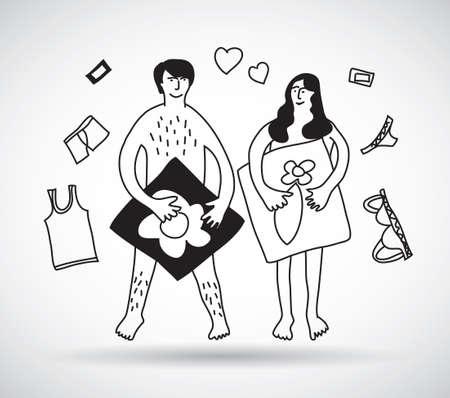 Pares del hombre y la mujer relaciones sexuales desnudos blanco y negro.