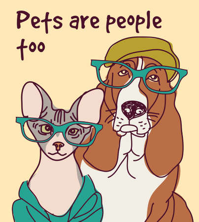 Pets animals fashion card letter sign poster.  イラスト・ベクター素材