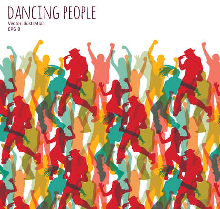 crowd happy people: Crowd happy dancing people. Color vector illustration. Illustration