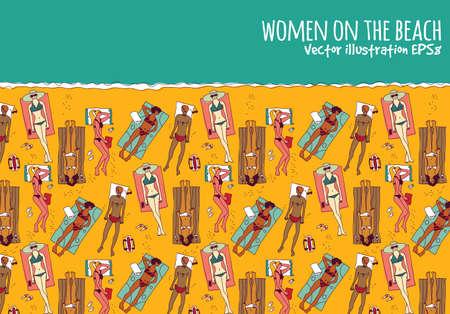 to sunbathe: Group women beach water sea summer rest color. Color vector illustration. Illustration