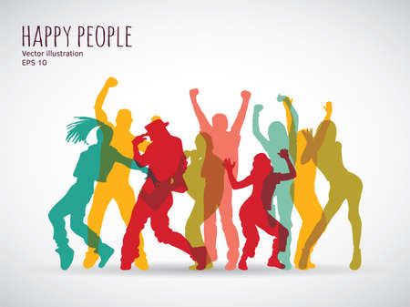 Happy people group shadow color silhouette. Color vector illustration.