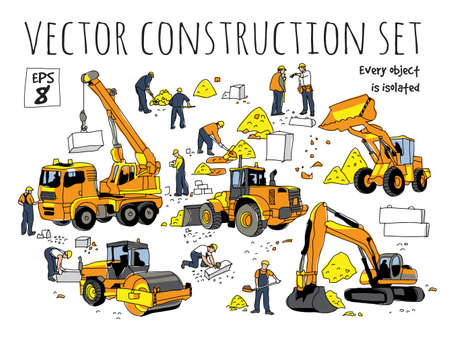 Building people and construction equipment isolated objects set. Color vector illustration. EPS8