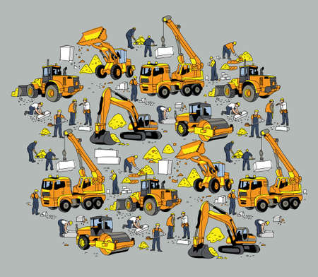 Building construction worker and equipment color objects. Color vector illustration. Illustration