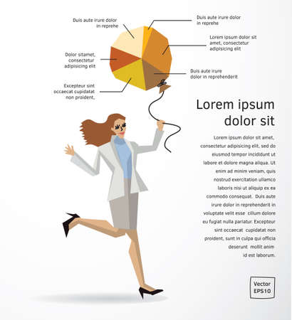 Business woman info graphics diagram flat. Color vector illustration.
