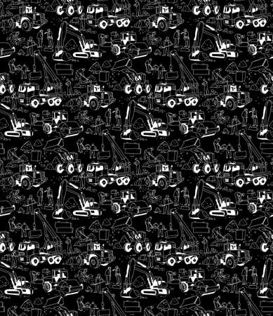 Building construction workers builders black seamless pattern. Monochrome vector illustration.