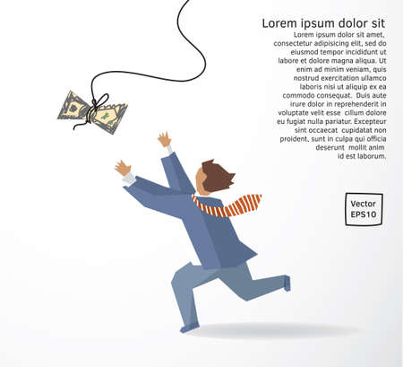 Businessman catch money dollar run flat drawing. Color vector illustration.