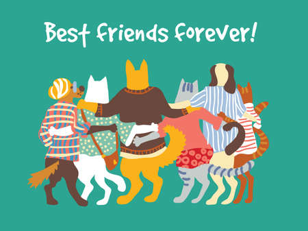 Cats and dogs pets group animal friends friendship hugs. Color vector illustration.