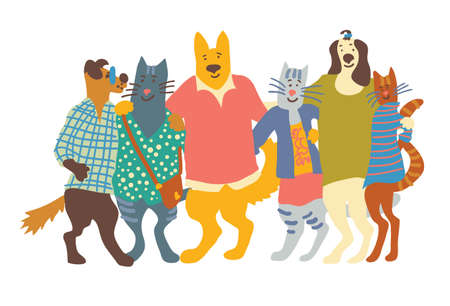 Cats and dogs pets group friends friendship hugs isolate on white. Color vector illustration.