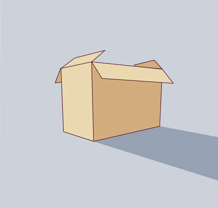 Big empty box object flat shadow icon pack. Color vector illustration.