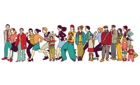 キュー尾待ち行列に立って大きなグループの人。色ベクトル イラスト。