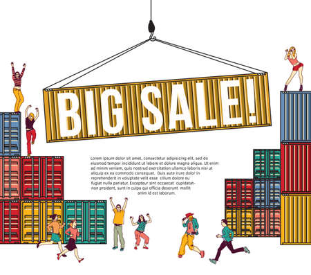 Big sale group happy people shopping container and sign. Color vector illustration. EPS8