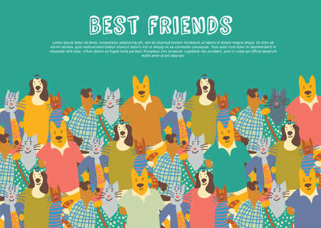 Cats and dogs pets friends big group friendship hugs in sky. Color vector illustration. Illustration
