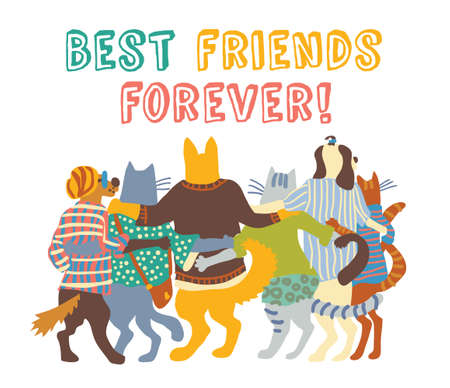 Cats and dogs pets group friends hugs isolate. Color vector illustration.