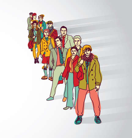 Group people standing in queue tail waiting flat shadow. Color vector illustration.