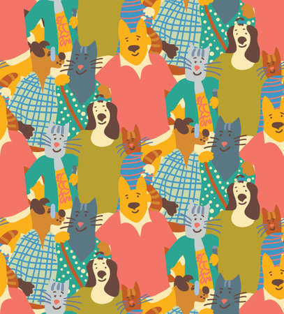 Hug pets dogs and cats friendship crowd seamless pattern friends. Color vector illustration. Illustration