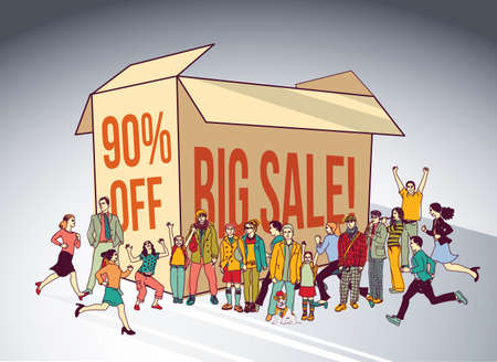 Sale box group people shopping discount run happy sign. Color vector illustration. Illustration