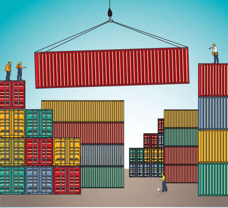 shipping by sea: Sea container lading shipping loading cargo transportation. Color vector illustration. Illustration