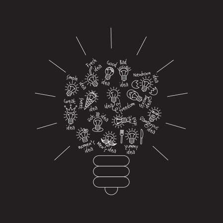 Black bulb creative lines symbol of ideas object. Monochrome vector illustration. Illustration