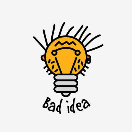 Bad couleur idée face objet ampoule symbole icône avec le signe du plaisir. vecteur de couleur illustration.