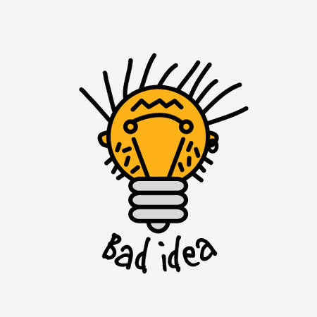 Bad idea color symbol bulb object face icon with fun sign. Color vector illustration.