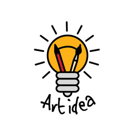 Art idea creative bulb object line symbol and sign. Color vector illustration.